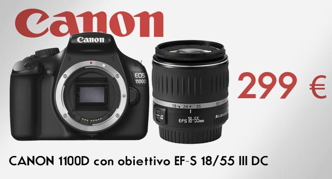 CANON 1100D con obiettivo EF-S 18-55 III DC