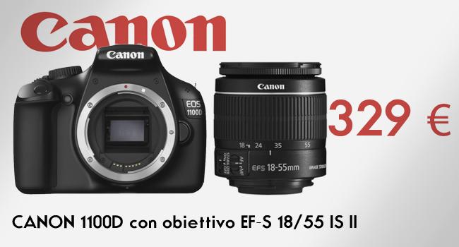 CANON 1100D con obiettivo EF-S 18-55 IS II