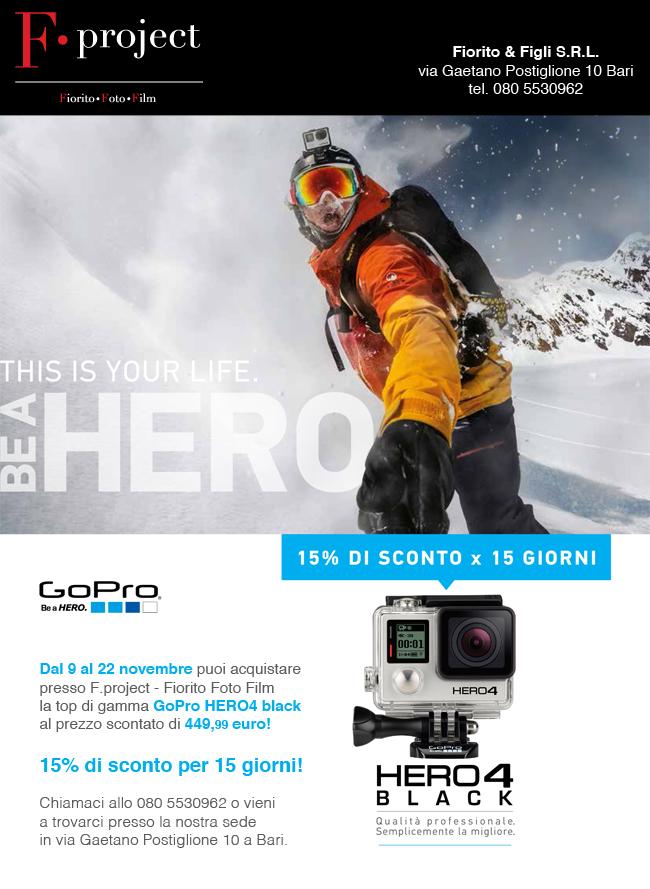 Gopro HERO4 black promo Bari prezzo novembre 2015