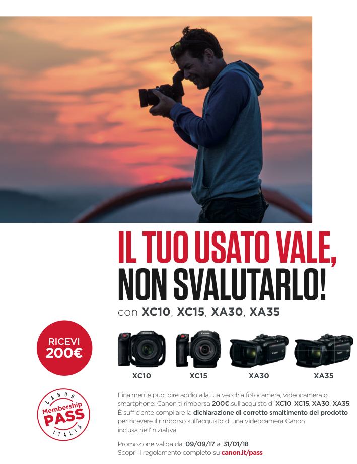 Cashback Canon XC10, XC15, XA30, XA35 gennaio 2018